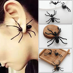 Halloween Decoration 1Piece 3D Creepy Black Spider Ear Stud Earrings for Haloween Party