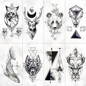 Geometry cool Temporary Tattoo Sticker Women Minimalist Design Men Tattoos