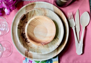 Palm Leaf Plates 10 Pack 10 Inch Round - 10 Pack 8 Inch Round - 10 Pack 5 Inch Bowl - 30 Pieces Cultery Wooden Birch Composable