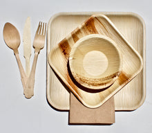 Load image into Gallery viewer, Disposable Palm Leaf Plates 10 Pack 9.5 Inch Square 10 Pack 7 inch Square - 10 Pack 5 inch Bowl And 30 Pieces Cutlery Wooden Birch - Composable – Eco Friendly -  Biodegradable