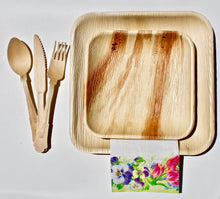 "Load image into Gallery viewer, Disposable Palm Leaf Plates 10 Pack 9.5"" Square - 10 Pack 7"" Square And 30 Pieces Cutlery"