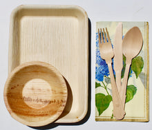 Load image into Gallery viewer, Disposable Palm Leaf Plates 25 Pack 9x6 Inch - 25 Pack 5 inch Bowl and 75 Pieces Cutlery Wooden Birch Composable - Eco Friendly