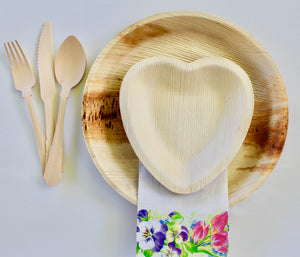 Disposable Palm Leaf Plates 25 Pack 10 Inch Round - 25 Pack 6.5 Inch Heart And 75 Pieces Cutlery  Eco Friendly – Biodegradable