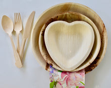Load image into Gallery viewer, Disposable Palm Leaf Plates 25 Pack 10 Inch Round - 25 Pack 6.5 Inch Heart And 75 Pieces Cutlery  Eco Friendly – Biodegradable