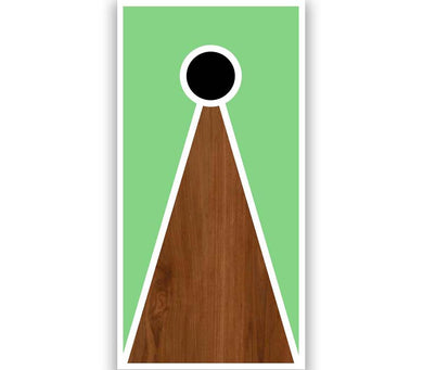 Cornhole Board V-Style Green Paint Stained Brown