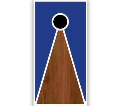 Cornhole Board V-Style Blue Paint Stained Brown