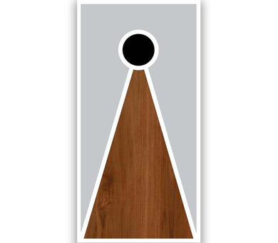 Cornhole Board V-Style Grey Paint Stained Brown