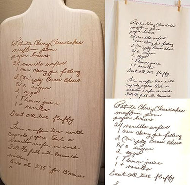 Engraved Handwritten Recipe or Note Service (can be added to any board or sign)