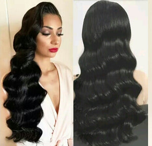 Natural Unprocessed Pre Plucked Virgin Brazilian Big Wave  Lace Front Deep Part - Jeybeauty