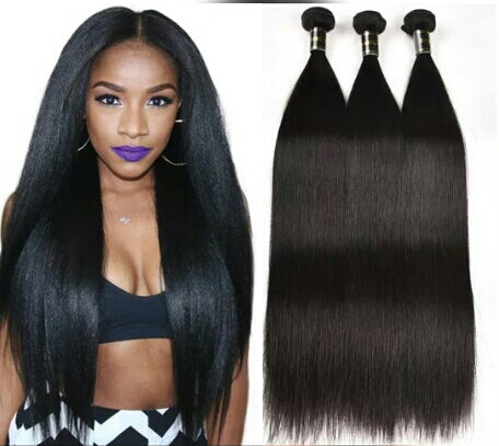 Mink Hair Brazillian Silky Straight Hair Weave 3 Bundles Natural Black - Jeybeauty