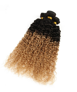 Ombre Jerry Curl Two Tone Black and Blonde 1B/27 Human Hair Weaving 3 Bundles - Jeybeauty