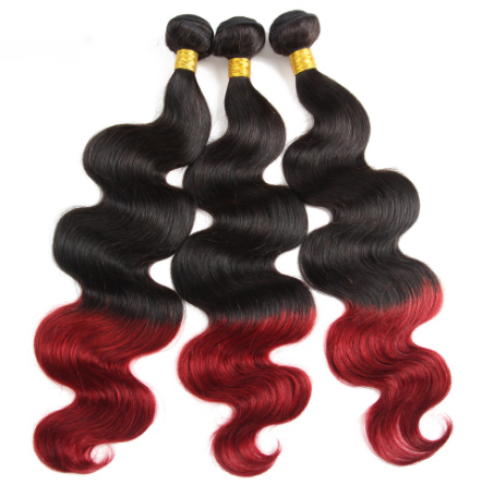 Ombre 3 Bundles 100% Virgin Hair Ombre 1B BUG Body Wave Human Hair Weaving - Jeybeauty