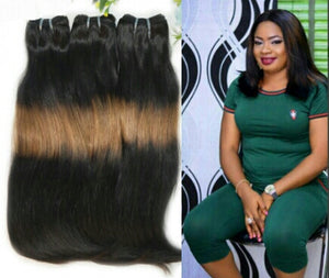 Double Drawn Straight Human Hair Weft Ombre 3 Tone Thick End Hair Weave - Jeybeauty
