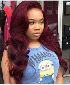 Red Brazilian Burgundy 99J Body Wave Glueless Lace Front Wigs - Jeybeauty