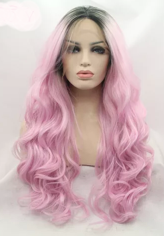 Body Wave Lace Front Perruque Full Pink Dark Root Color Wig - Jeybeauty