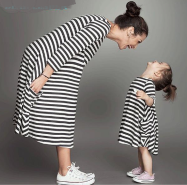 Family Matching Mother And Daughter Fall Full Black Striped - Jeybeauty