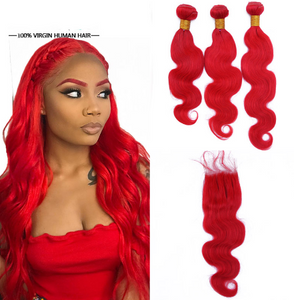 Pre-plucked #Red 3 Bundles with  4x4 Lace Closure Brazilian Remy  Body Wave With Baby Hair - Jeybeauty