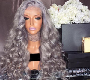 Wavy Grey Lace Front Human Hair Wig With Baby Hair - Jeybeauty