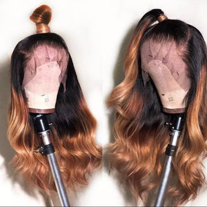 Honey Blonde Remy Ombre Color Glueless Wig With Highlight - Jeybeauty