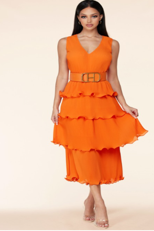 Layered Pleated Midi Dress with Buckle Belt