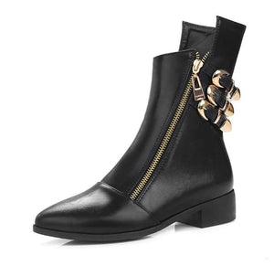 Martin Motorcycle Boots Cool Buckle Zipper Pointed Toe Shoes Woman Chunky Heel Short Ankle Boots - Jeybeauty