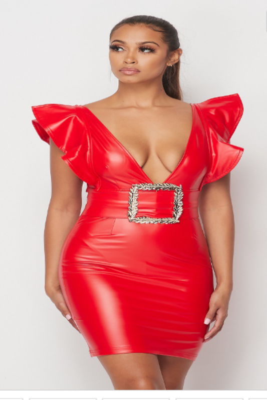 Latex Deep V-Neck Buckle Mini Dress
