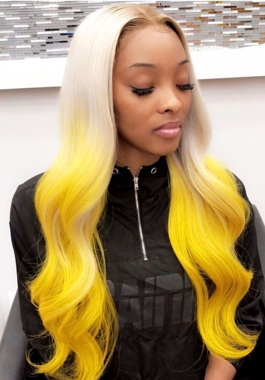 Straight Colored Bundles With Frontal  Ombre Brazilian - Jeybeauty