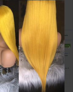 Brazilian  Ombre Yellow dark Roots Wig - Jeybeauty
