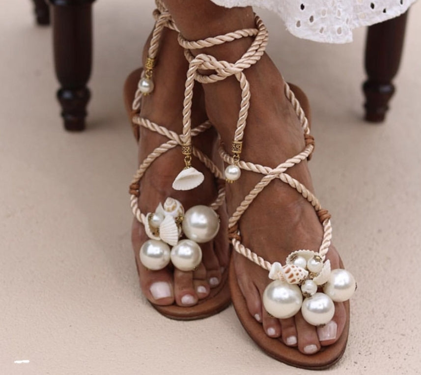 pearl lace up sandals - Jeybeauty