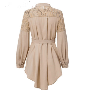 Embroidery sashes office High waist dress - Jeybeauty