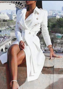 Elegant white trench Sashes Blazer Dress - Jeybeauty