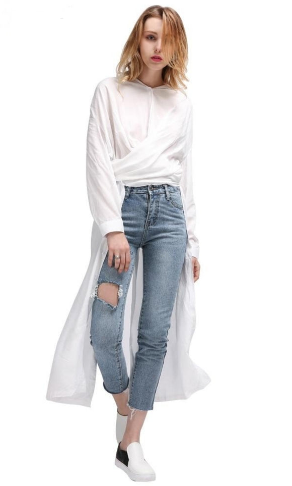 Female Long Sleeve Blouse White Black Novelties - Jeybeauty
