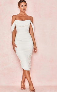 Elegant Celeb White Off Shoulder Dress - Jeybeauty