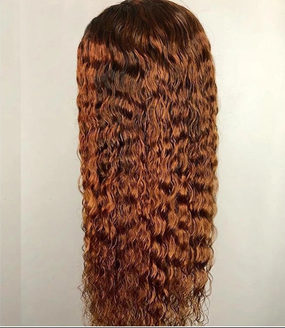 Ombre Curly Peruvian Lace Front Glueless Bleached Knots - Jeybeauty