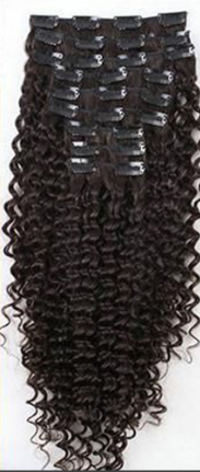 Malaysian Curly Virgin Real Hair Natural Color Full Head Clip In - Jeybeauty