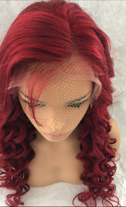 Red Lace Front Loose Deep Wave Curly Virgin Hair Pre Plucked Lace Wig With Baby Hair - Jeybeauty