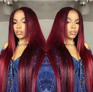 Brazilian Pre Plucked Wine Red Color Ombre Straight Lace Front Human Hair Wigs Glueless Remy - Jeybeauty