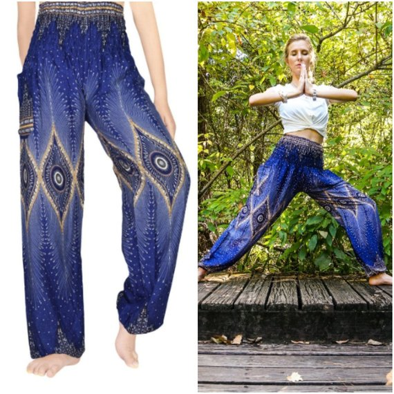 PEACOCK Eye Women Boho Pants Hippie Pants - Jeybeauty