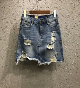 Vintage Hole High Waist Pencil Denim Skirt - Jeybeauty