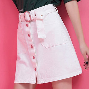 High Waist  A-line Skirts With Sashes - Jeybeauty