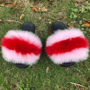 Top Quality Mixed Color Real Fur Sliders - Jeybeauty