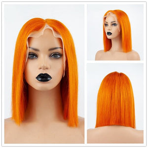 Bob Wig With Bangs Glueless Transparent Lace Front - Jeybeauty
