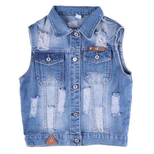 Top Quality Girl Ripped Denim Vest Waistcoat - Jeybeauty
