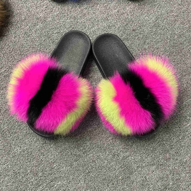 CCFUR New Colors 2019 Summer Slides Women's Real Fox Fur Slippers Fluffy Fur Sliders Mixed Color Fashion Lady S6048 - Jeybeauty