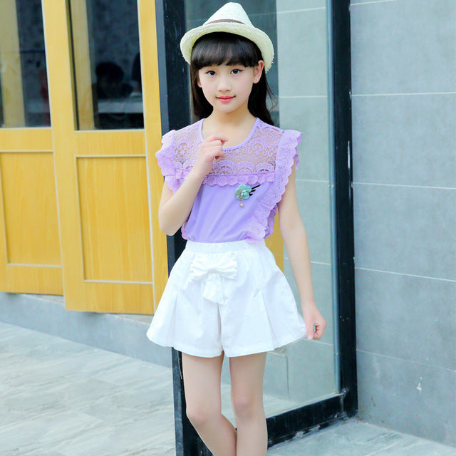 Lace Chiffon Hollow Out Flying Suit Set - Jeybeauty