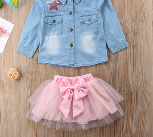 Sequin Star Bowknot Outfit Set - Jeybeauty