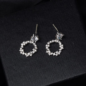 925 Classic Silver Pin Inlaid Earring - Jeybeauty