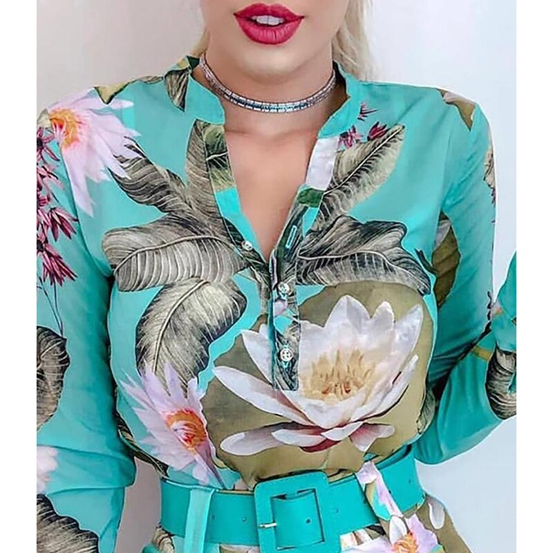 Elegant Tropical Print belted rompers - Jeybeauty