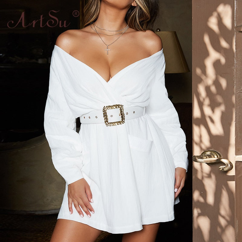 Off Shoulder A-Line Wrap - Jeybeauty