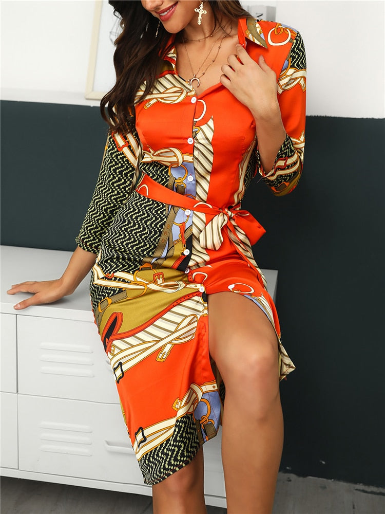 Stylish Mixed Print Dress - Jeybeauty